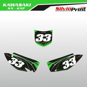 Grafiche MX   Adesivi Tabelle Porta Numero Motocross   Enduro - KAWASAKI KX KXF - RACE