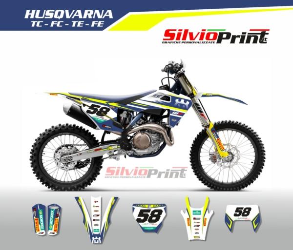 Grafiche MX | Adesivi Motocross | Enduro - HUSQVARNA FE TE TC FC - TECNO BLU